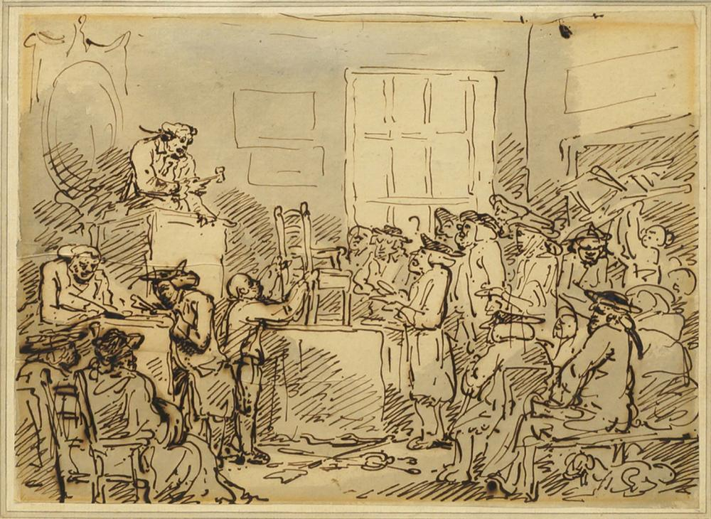 Thomas Rowlandson, British 1756-1827- A Furniture Auction, circa 1784; pen and sepia ink and grey wash,