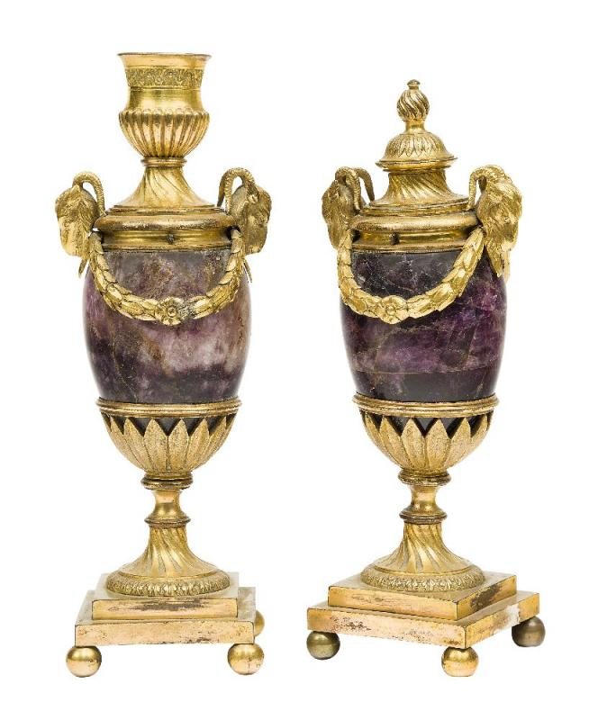 George III ormolu and blue-john cassolettes