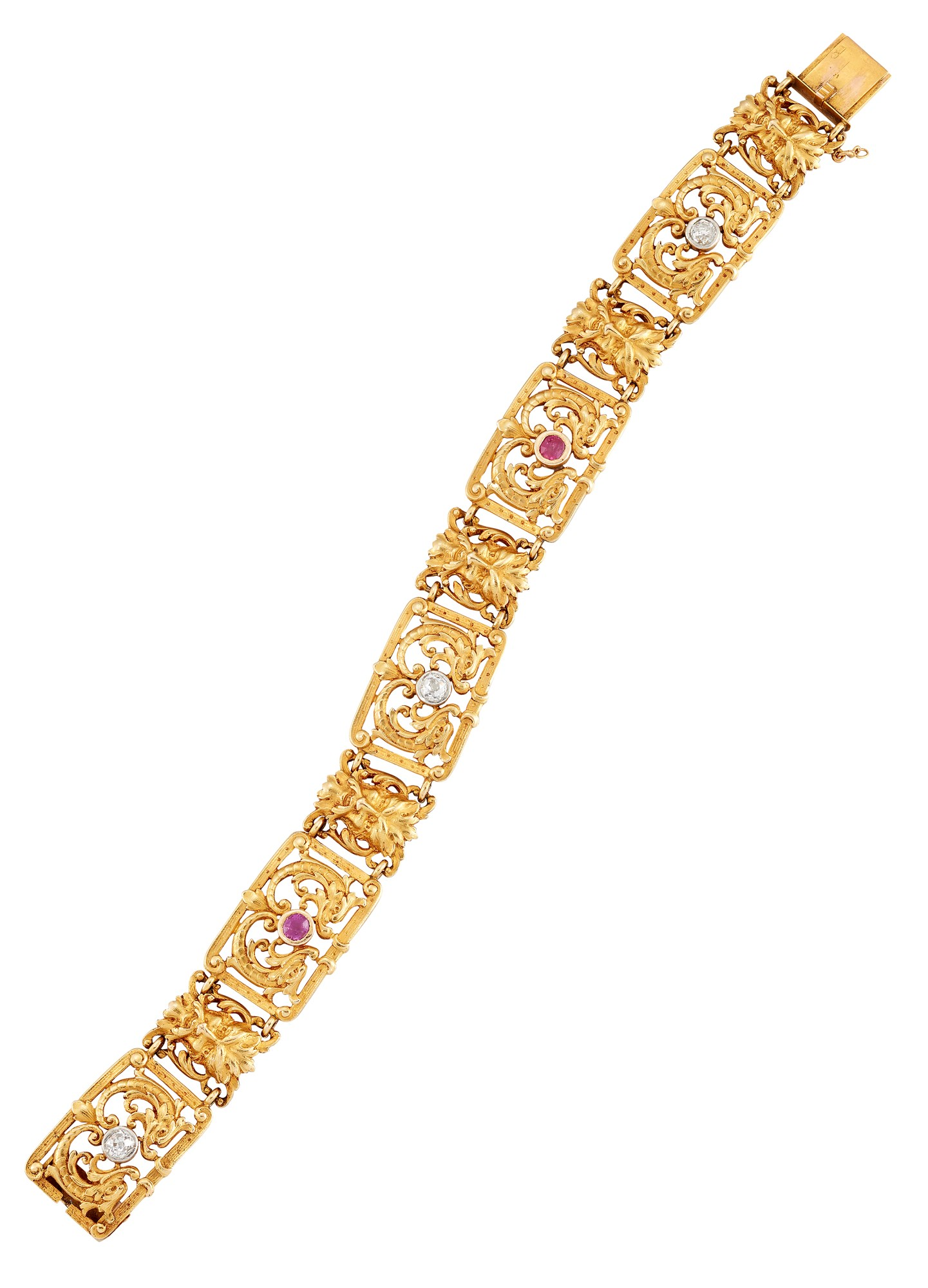 19th Century French gold diamond and ruby bracelet