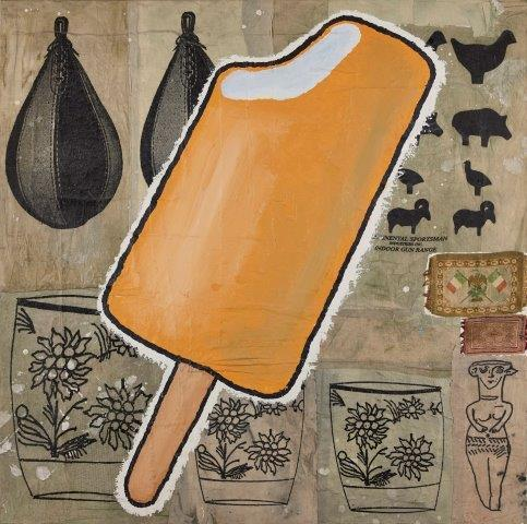 Donald Baechler, American b. 1956- 'Creamsicle', 1999; acrylic and fabric collage on canvas