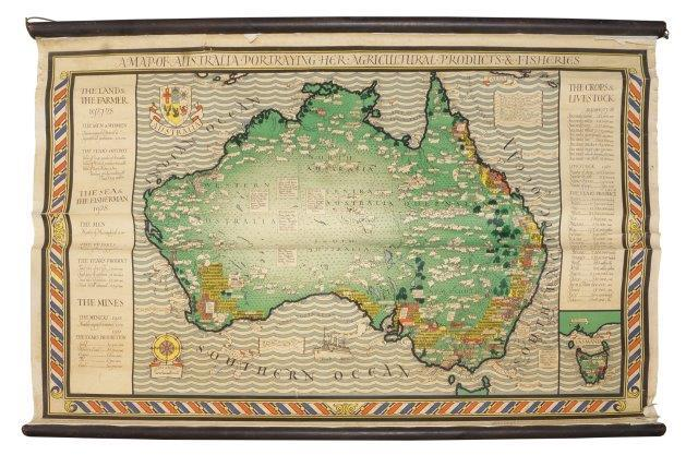 Macdonald Gill, British, 1884-1947, A Map of Australia portraying her agricultural products and fisheries, 20th century, an educational poster, issued by the Empire marketing board