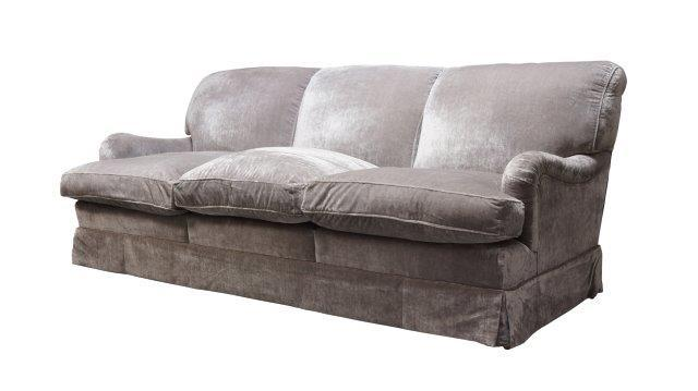 Howard Chairs Ltd, a three seater sofa, of recent manufacture, upholstered in plush grey fabric