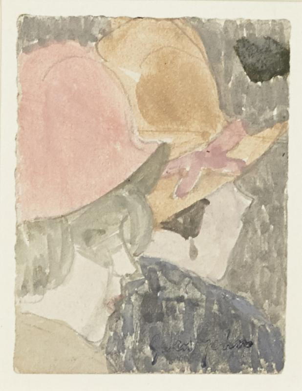 Gwen John, British 1876-1939- Two female heads; pencil and watercolour