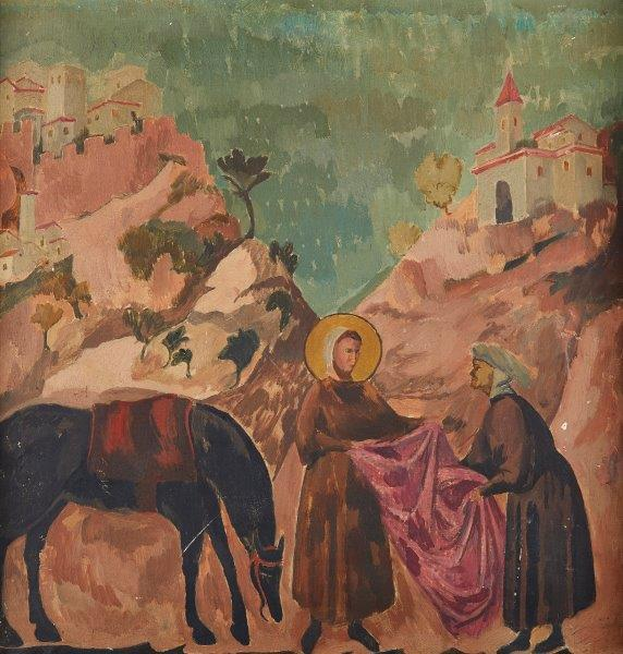 Roger Fry, British 1866-1934- St Francis giving his cloak to a destitute nobleman, after Giotto; oil on canvas,