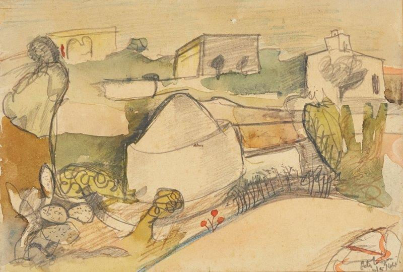 Peter Lanyon, British 1918-1964- Landscape with Houses, Italy, 1944; watercolour with traces of pencil