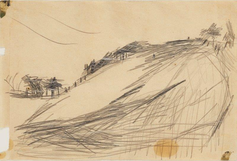 Frank Auerbach, British b.1931- Primrose Hill (study),1960; pencil and oil paint on brown paper