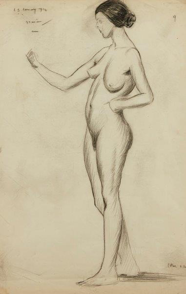 Laurence Stephen Lowry RA RBA, British 1887-1976- Female Nude; conte on paper