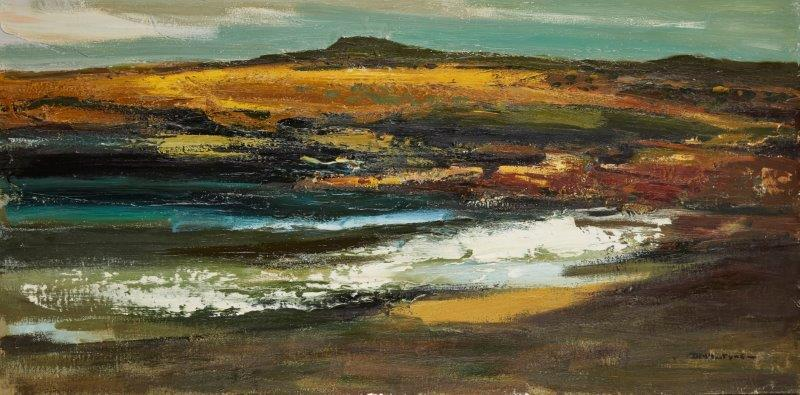 Donald McIntyre RCA, British 1923-2009- The Wave, Porth Cwyfan; oil on canvas laid on board