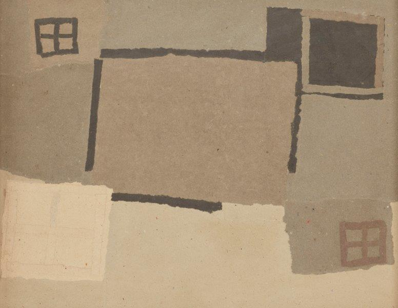Francis Davison, British 1919-1984- Fields and Enclosures; collage on Essex board
