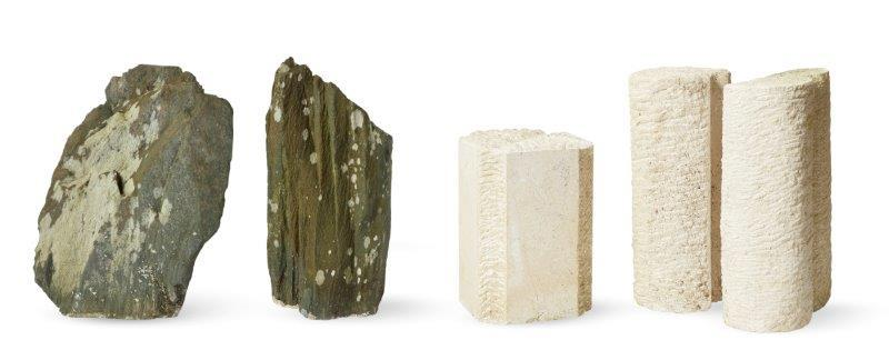 Geoffrey Harris, British 1928-2019- Four sculptures; two Portland stone and two slate