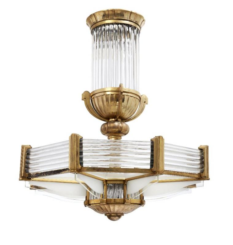 Petitot, a French Art Deco bronze and glass chandelier c.1930, stamped Petitot 1266