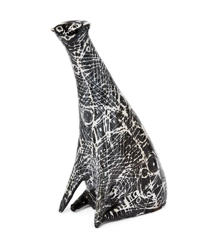 James Tower (1919-1988), a tall stylised cat Incised and dated Tower 1952