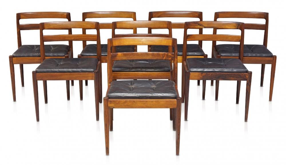 Kai Kristiansen (b.1929), a set of eight 'Model 301' rosewood dining chairs for Magnus Olesen and a rosewood dining table by CJ Rosengaarden c.1960
