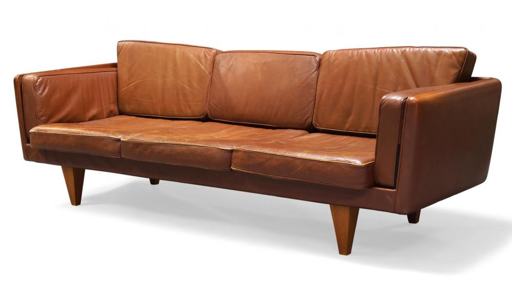 Illum Wikkelsø (1919-1999), a model 'V11' brown leather sofa made by Holger Christiansen 1960s Upholstered in tan leather