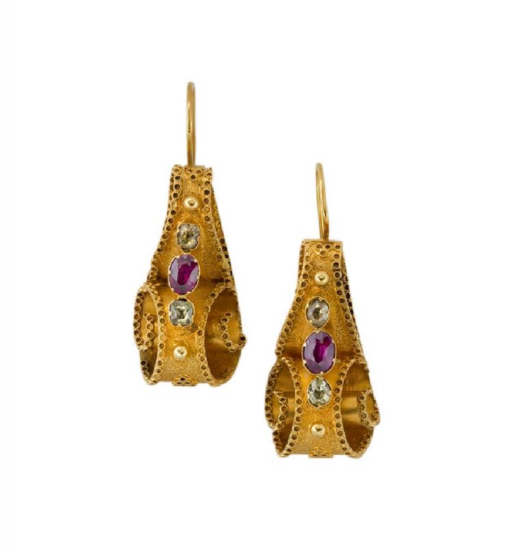 A pair of early Victorian gold and gem-set earrings