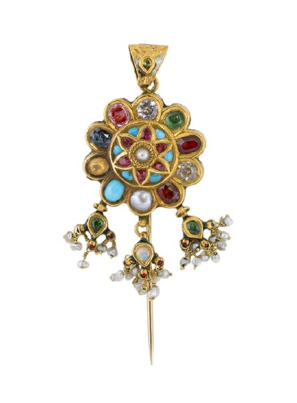 An Indian gem and enamel pendant