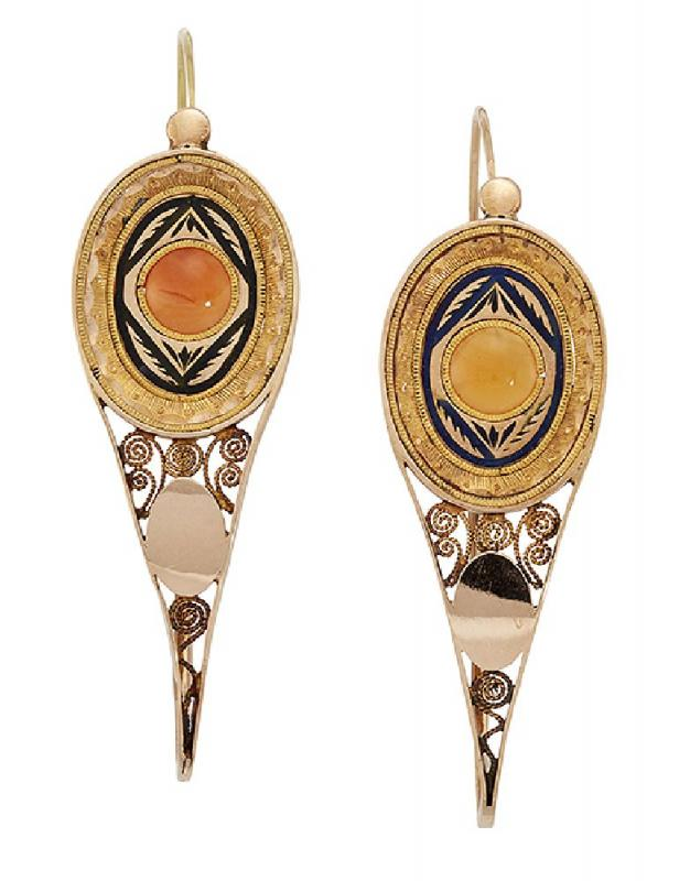 A pair of 18th century Poissarde earrings