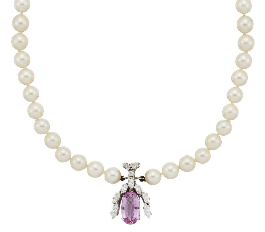 A pink topaz, diamond and cultured pearl necklace by Georg Jensen & Wendel