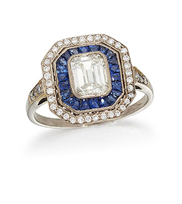 A diamond and sapphire cluster ring