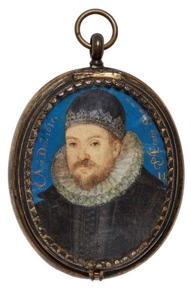 Attributed to Laurence Hilliard, English 1581/82-1648- Portrait miniature of a bearded nobleman