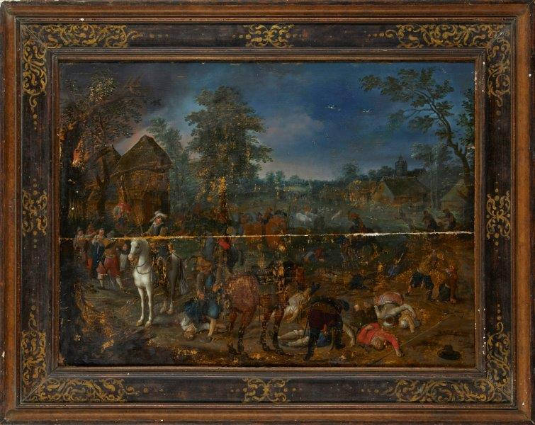 Sebastiaen Vrancx, Flemish 1573-1647- Soldiers raiding a village; oil on cradled panel, signed with monogram