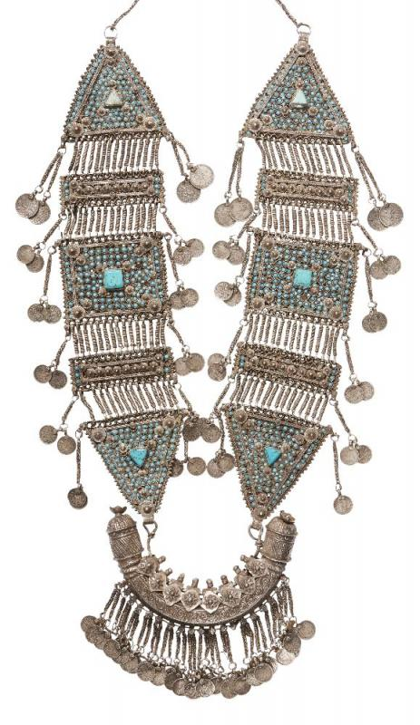 An impressive Bukhara turquoise-set silver necklace, Uzbekistan, 20th century