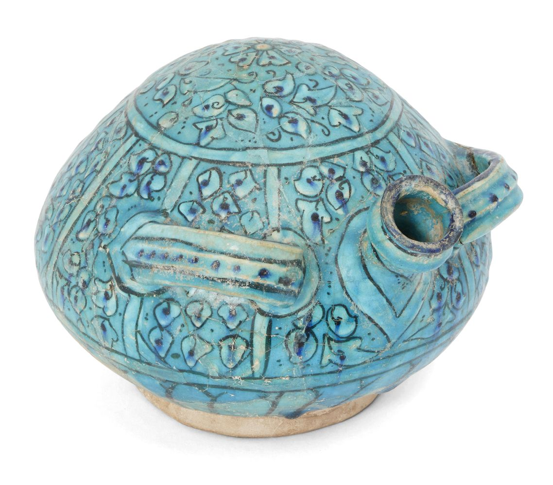 A large and unusual 'Bojnurd'-ware moulded pottery flask, Iran, late 13th-14th century