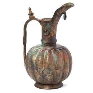 A Khorassan ribbed bronze ewer, North East Iran