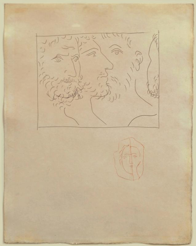 Pablo Picasso, Spanish 1881-1973- ''Four Heads of Men''; from ''Les Métamorphoses d'Ovide'', 1931, etching printed in black and sanguine