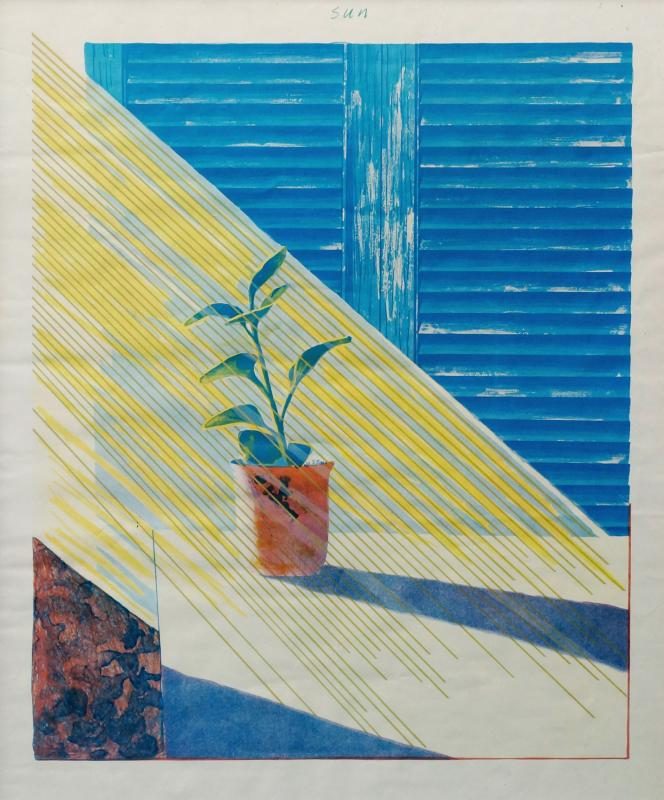 David Hockney OM CH RA, British b.1937- ''Sun'', from The Weather Series, 1973; offset-lithograph printed in colours