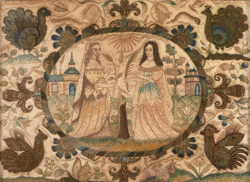 A Charles II stumpwork and silk-embroidered picture, c.1660-80, with a central medallion depicting personifications of Fertility and Peace (with seedpearl necklace) in a landscape setting