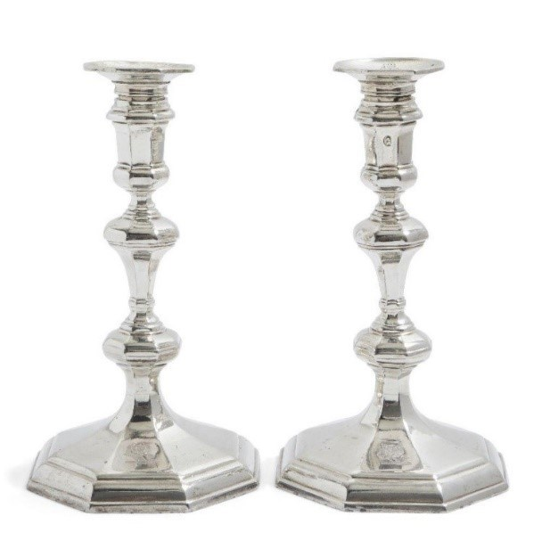 A pair of Queen Anne Britannia silver candlesticks, London, c.1709
