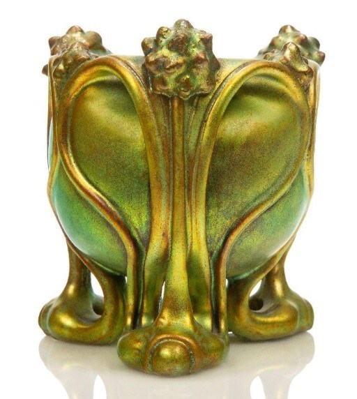 Zsolnay, an Art Nouveau Eosin glazed ceramic vase raised on three open work feet c.1905 sold for £2,500 in Roseberys Design : Decorative Arts 1860 to the Present Day auction on 3.11.20