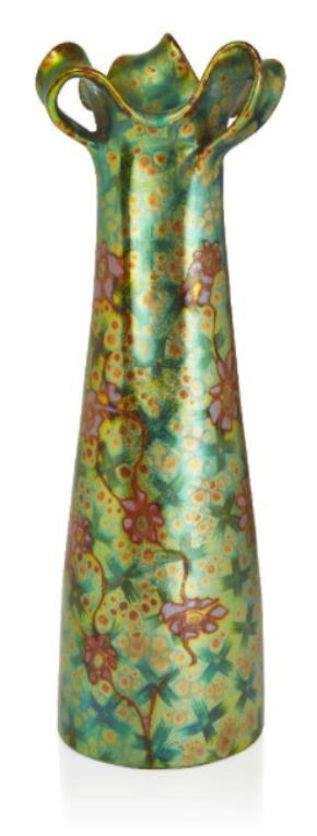 Zsolnay (Hungarian), an Art Nouveau Eosin glazed three handled vase, the form designed by Tádé Sikorski c.1900 up for sale within Roseberys Design : Decorative Arts 1860 to the Present Day auction on Tuesday 27 April