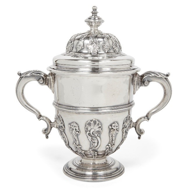 An impressive eighteenth-century silver twin-handled cup, London, c.1737