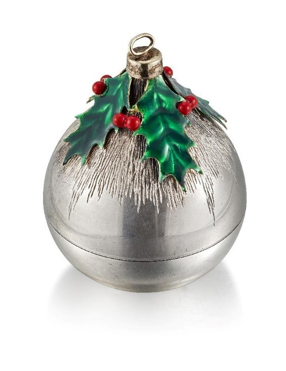 A parcel-gilt, silver and enamel Christmas tree bauble by Stuart Devlin