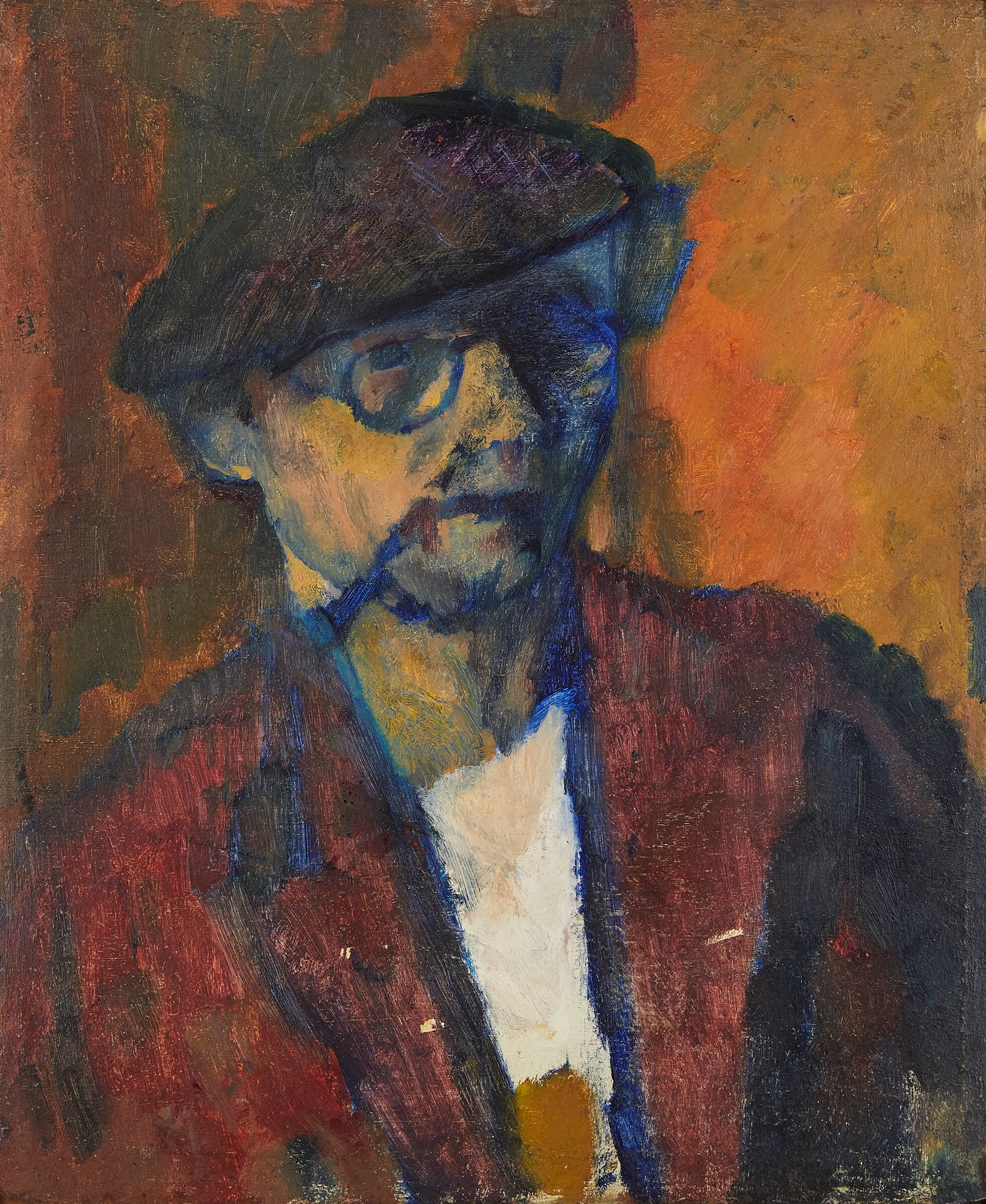 David Bomberg, British 1890-1957- Portrait of artist, 1937; oil on board