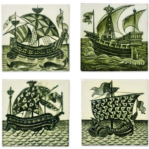 Four 'Galleon' six-inch tiles by Arts & Crafts