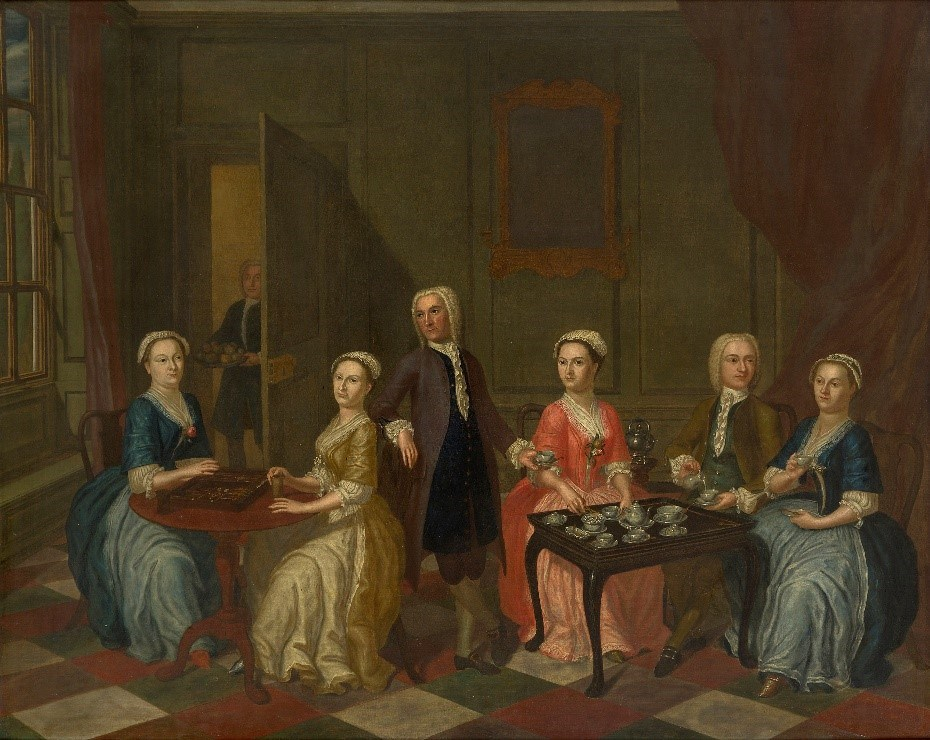 Follower of Gawen Hamilton, Scottish 1698-1737- A conversation piece with elegant figures playing backgammon and taking tea in an interior; oil on canvas