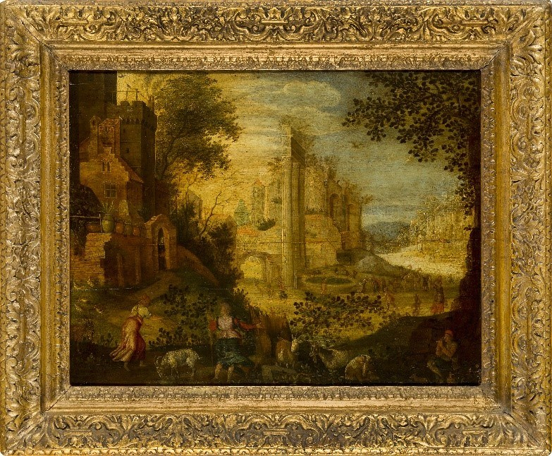 Follower of Paul Bril, Flemish c.1553/4-1626- View of the Roman Forum; oil on panel