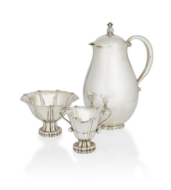 Georg Jensen, a silver three-piece matched Coffee set c.1925