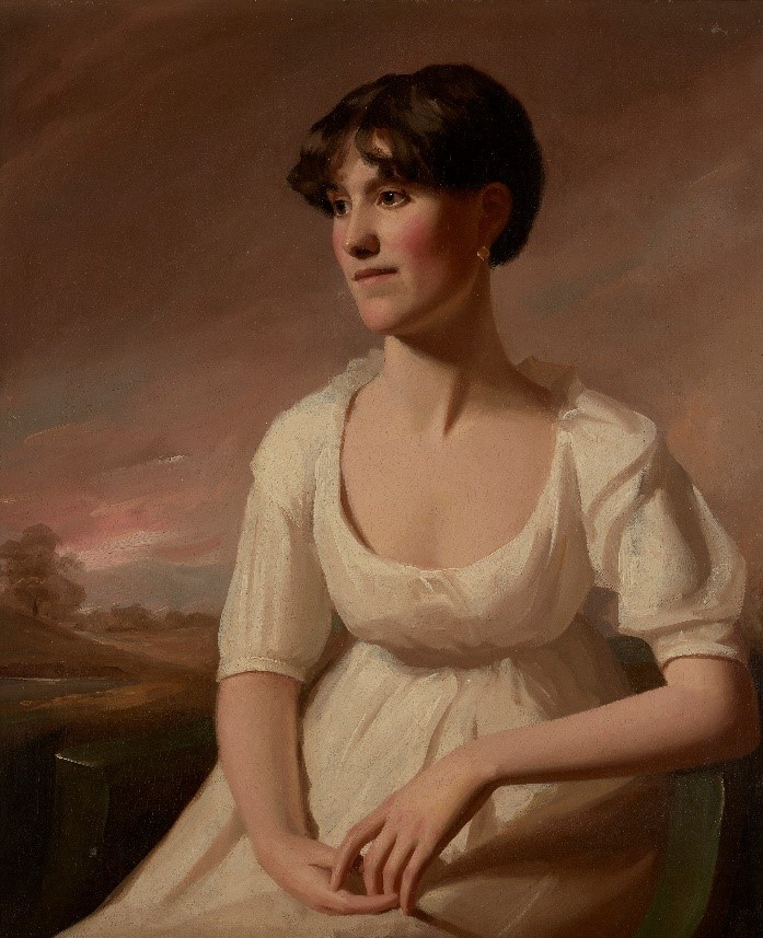 George Watson PPRSA, Scottish 1767-1837- Portrait of Janet (Jessie) Ruskin, seated half-length turned to the left in a white dress with a landscape beyond, c. 1805; oil on canvas