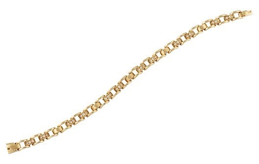 A diamond-set bracelet by Mauboussin, composed of brilliant-cut diamond three stone links