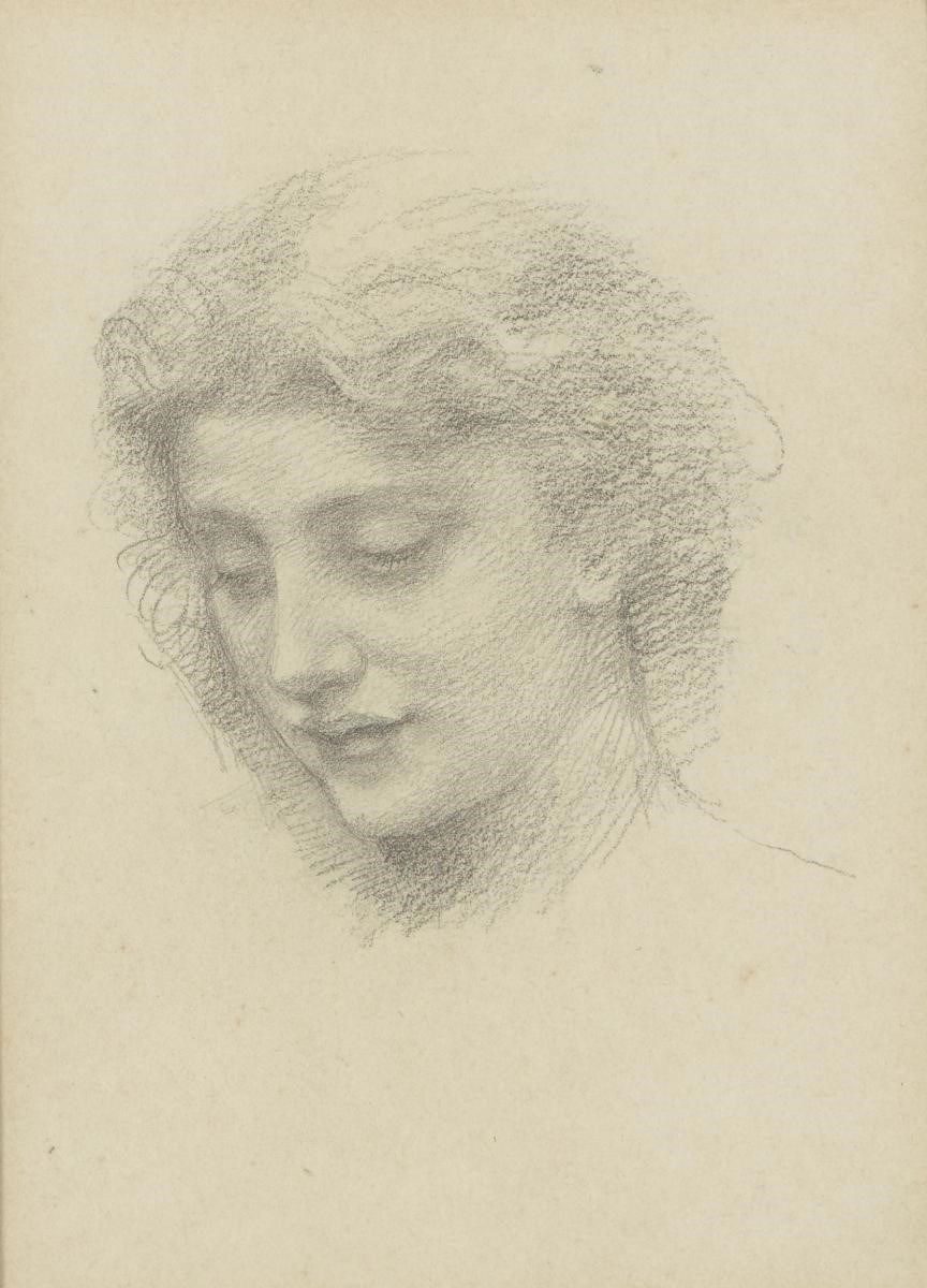 Henry Holiday, British 1839-1927- Woman's Head; soft pencil on paper