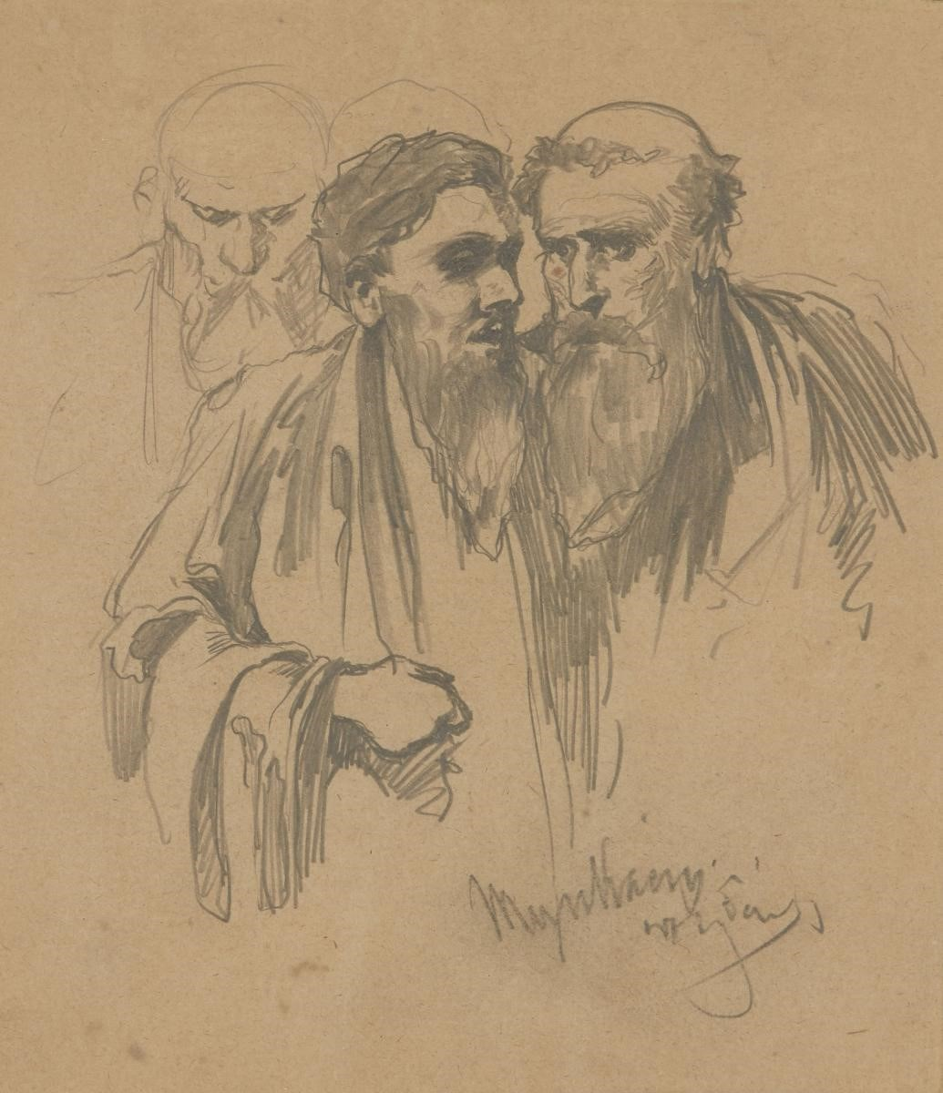 Mihály Munkácsy, Hungarian 1844-1909- Study of men; pencil, signed and inscribed