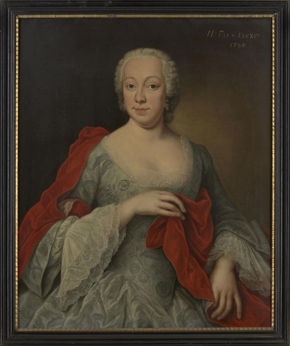 Johann-Philipp Behr, German, fl. 1740-1756- Portrait of Susanna Judit von Stokum (1720-1750) three-quarter length wearing a floral embroidered grey silk dress and a red cape; oil on canvas