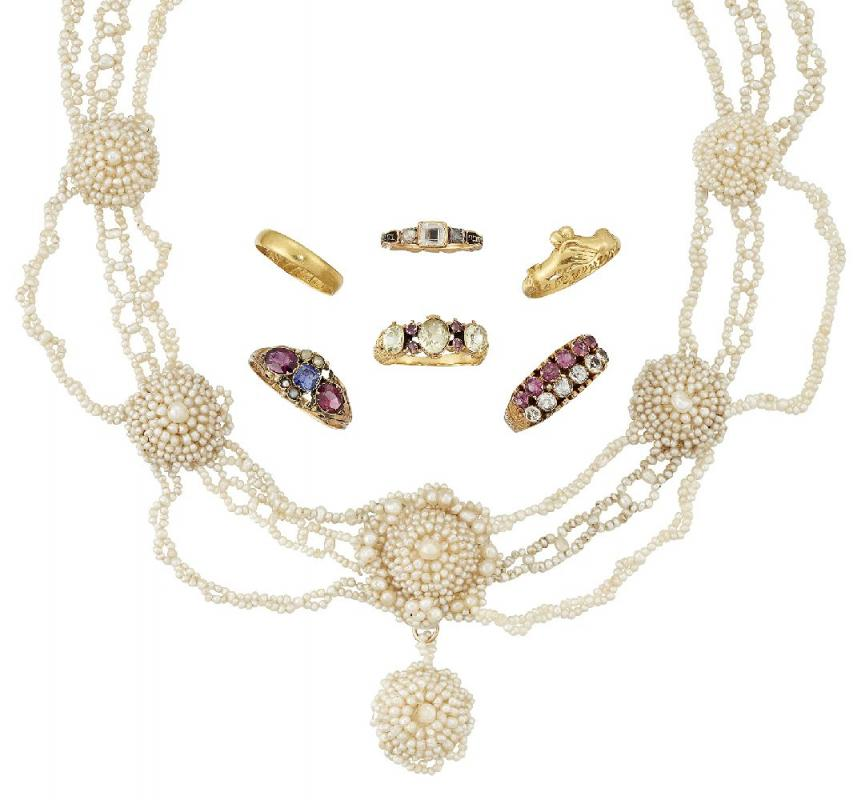A group of six antique gold rings and an early 19th century seed pearl necklace, rings