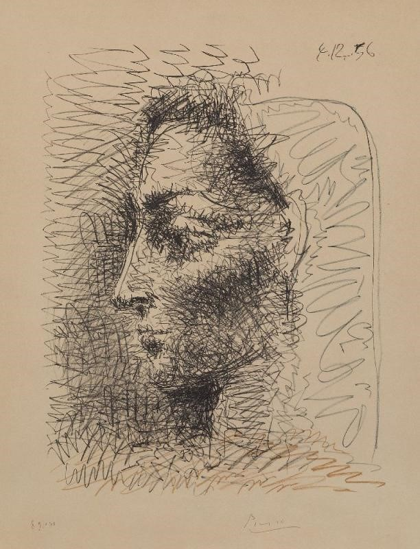 Lot 180 : Pablo Picasso, Spanish 1881-1973- Portrait of Jacqueline [Bloch 827; Mourlot 289], 1956; offset lithograph in colours on wove
