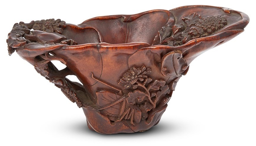 Lot 297: A Chinese rhinoceros horn libation cup, 17th century | £20,000-30,000 + fees;