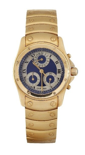 An 18ct gold chronograph date 'Santos' quartz wristwatch by Cartier